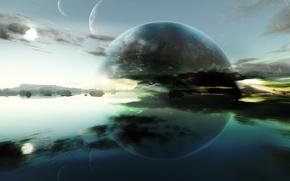 Обои горизонт, вода, планеты, отражения