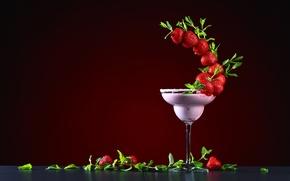 Картинка листья, дизайн, бокал, клубника, ягода, коктейль, красная