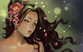 Картинка цветы, ветер, Девушка