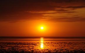 Картинка солнце, закат, залив, коса, бердянск