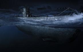 Картинка ночь, океан, Арт, одна, подводная лодка, армии, submarine, самых, подводных, немецкой, грозных, лодок, U-99, Второй …
