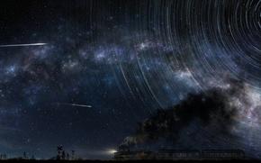 Обои небо, звезды, люди, луна, дым, поезд, арт, tsujiki