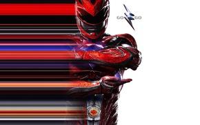 Картинка красный, фантастика, костюм, шлем, постер, Power Rangers, Могучие рейнджеры, Red Ranger, Dacre Montgomery, Jason Lee …