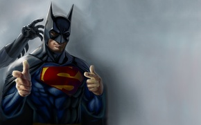 Обои юмор, superman, artwork, superheroes, batman