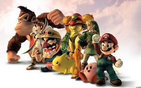 Картинка nintendo, mario, супергерои, hero, kirby, samus, wario, Donkey Kong