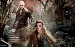 Картинка Orlando Bloom, постер, Evangeline Lilly, коллаж, The Hobbit: The Battle of the Five Armies, Хоббит: ...