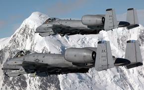 Картинка горы, пара, полёт, A-10, штурмовики, Thunderbolt II