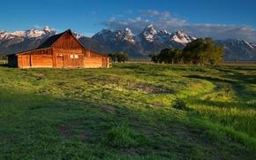 Картинка поле, пейзаж, горы, дом