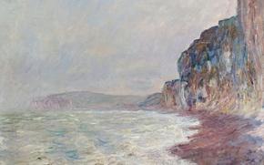 Картинка картина, морской пейзаж, Клод Моне, Скалы. Пасмурно