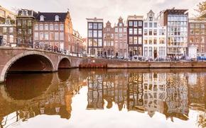 Обои мост, отражение, дома, Амстердам, канал, Нидерланды