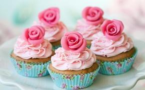 Обои десерт, кексы, крем, розочки, блюдо