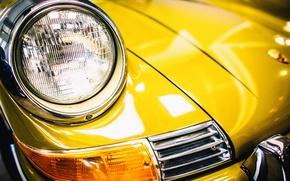 Картинка желтый, Porsche, передок, 911T