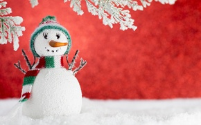 Картинка зима, снег, Новый Год, Рождество, снеговик, Christmas, winter, snow, Xmas, decoration, Merry