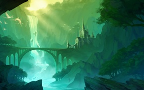 Картинка горы, мост, река, замок