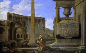 Картинка город, картина, обелиск, Жан Лемер, Отшельник Молящийся Среди Руин