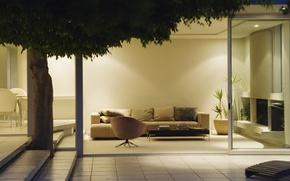 Картинка дизайн, комната, диван, дерево, листва, плитка, растение, интерьер, кресло, подушки, ступеньки