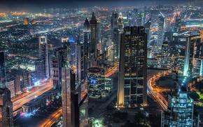 Картинка ночь, город, огни, дома, Дубай, ОАЭ