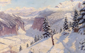 Картинка зима, снег, деревья, пейзаж, горы, елки, картина, сугробы, тропинка, Борис Бессонов