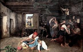 Картинка картина, Фердинанд Георг Вальдмюллер, Ferdinand Georg Waldmüller, 1860, австрийский художник, Preparations for feast