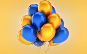 Картинка воздушные шары, yellow, blue, celebration, holiday, balloons