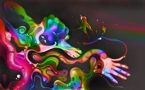 Картинка глаза, цвета, абстракция, клякса, рука, крылья, нога