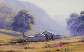 Картинка трава, деревья, пейзаж, дом, холмы, забор, арт, постройка, artsaus