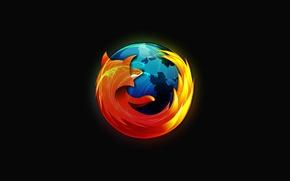 Картинка темно, минимализм, Mozilla, браузер, лучший, Firefox