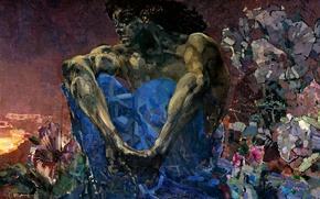 Картинка 1890, Михаил Александрович, Демон сидящий, Врубель