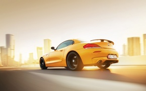 Картинка BMW, Car, Speed, Sunset, Yellow, Rear, Abudhabi