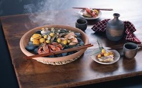 Обои палочки, вкусно, пища, еда, морепродукты