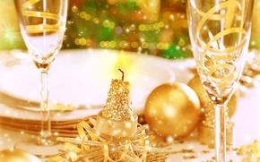 Картинка фон, праздник, обои, бокал, новый год, рождество, размытие, блестки, тарелки, wallpaper, new year, застолье, широкоформатные, …