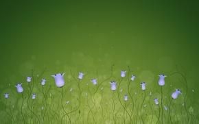 Картинка линии, круги, цветы, зеленый, колокольчики