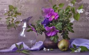Картинка цветы, ветки, ноты, яблоко, шиповник, ткань, ваза, кувшин, натюрморт, жасмин