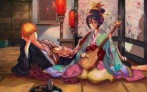 Картинка девушка, арт, ширма, парень, кимоно, фонарики, bleach, kurosaki ichigo, музыкальный инструмент, kuchiki rukia, muza4370
