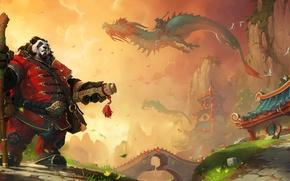 Картинка дракон, азия, арт, панда, посох, World of Warcraft, свиток, Mists of Pandaria