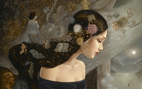 Картинка девушка, цветы, корабль, свечи, ангелы, окно, лица