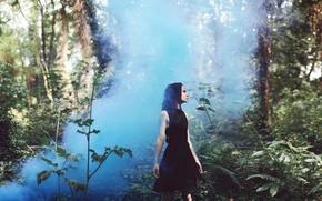 Картинка лес, девушка, туман, платье