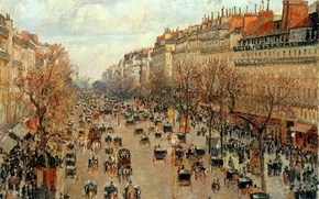 Картинка картина, улица, Camille Pissarro, Бульвар Монмартр в Париже, Франция, город