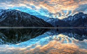 Картинка небо, закат, горы, отражение, река, sky, sunset, mountains, lake