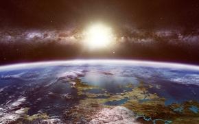 Обои звезды, планета, космос, млечный путь