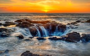 Обои прибой, побережье, Oregon, море, небо, горизонт, закат, камни, США