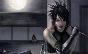 Картинка девушка, ночь, оружие, луна, кровь, арт, ножи, раны