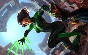 Картинка взгляд, девушка, зеленый, фантастика, костюм, пули, выстрелы, art zhang