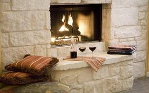 Картинка вино, романтика, книги, подушки, бокалы, камин
