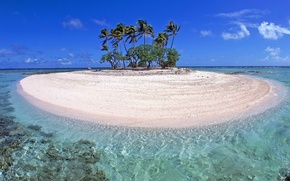 Картинка море, небо, облака, тропики, пальмы, океан, остров