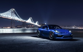 Обои Car, Night, Blue, Bridge, Sport, Porsche, Front, Cayman, GT4