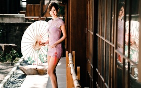 Картинка зонт, платье, восточная девушка, chingcho Chang