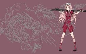 Картинка girl, sword, game, Sakura, pink, anime, cloud, katana, dragon, fang, ninja, asian, manga, pretty girl, …