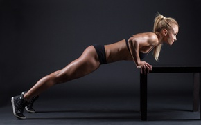 Обои toned body, pushups, blonde, fitness