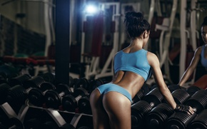 Обои model, gym, mirror, brunette, fitness